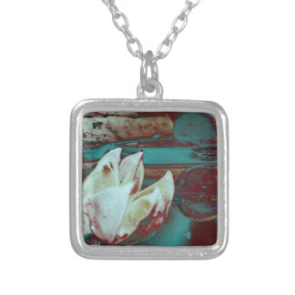 Artistic Water Lilly in Red and Blue Custom Necklace