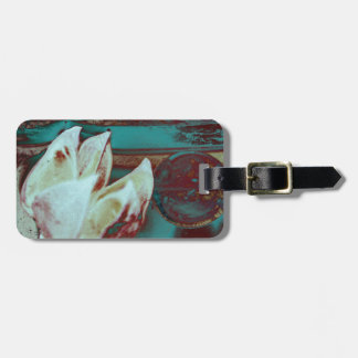 Artistic Water Lilly in Red and Blue Travel Bag Tag