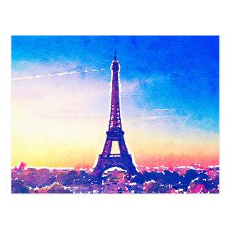 Artistic Watercolor France Paris Eiffel Tower Postcard