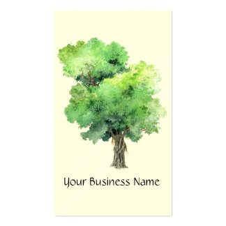 Artistic Watercolor Old Wise Tree Business Card