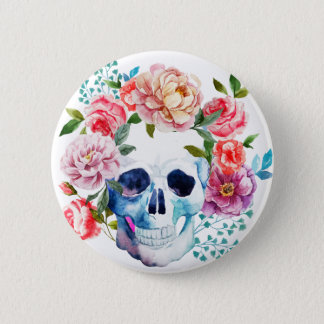 Artistic watercolor skull and flowers pinback button