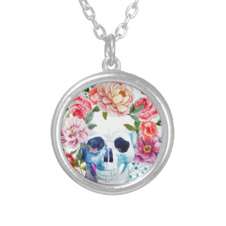 Artistic watercolor skull and flowers silver plated necklace