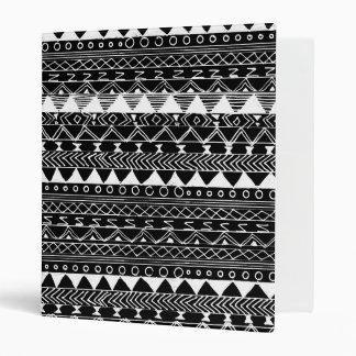 Artistic White black hand drawn aztec pattern Binder