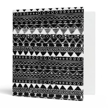 Aztec Themed Artistic White black hand drawn aztec pattern Binder