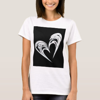 Artistic white heart on black background T-Shirt
