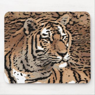 Artistic wild tiger mousepad