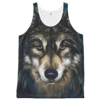 Artistic Wolf Face All-Over Print Tank Top