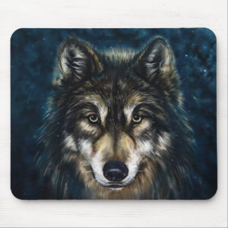 Artistic Wolf Face Mouse Pad