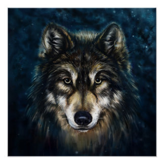 Artistic Wolf Face Poster