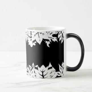 Artistic wooden trees and plants in a line 11 oz magic heat Color-Changing coffee mug