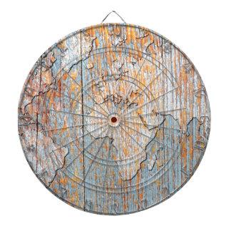 Artistic wooden world map dartboards