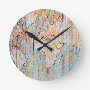 Artistic world map gifts on zazzle artistic wooden world map round clock gumiabroncs Choice Image
