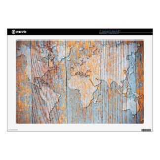 Artistic wooden world map decal for laptop