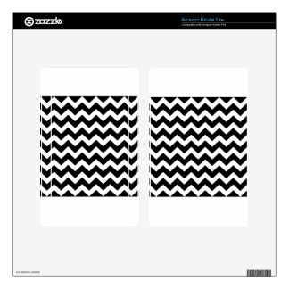 Artistic zigzag Black and white Skins For Kindle Fire