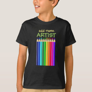 Artists Colored Crayons (Pencils): Add Name to T-Shirt