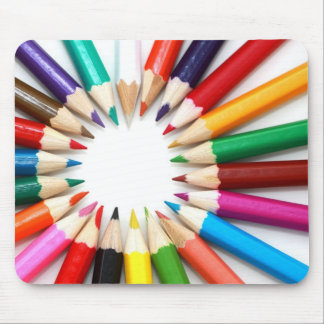 Artist's colored pencils rainbow graphic photo mouse pad