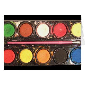 Artist's colorful paint color box card