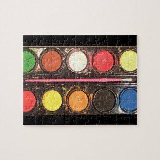 Artist's colorful paint color box jigsaw puzzle