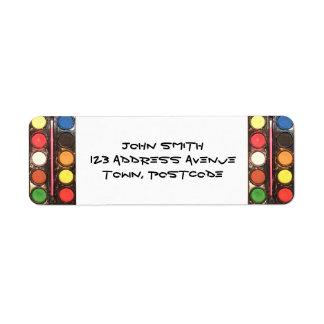 Artist's colorful paint color box labels