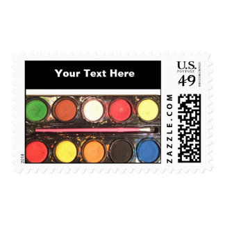 Artist's colorful paint color box stamp