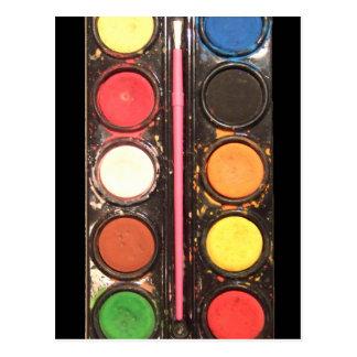 Artist's colorful paint color box post cards