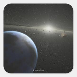 Artist's concept of an astroid belt Photograph Square Sticker
