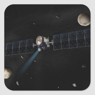 Artist's concept of the Dawn spacecraft in orbi Square Sticker