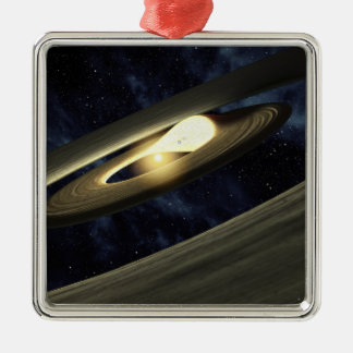 Artist's concept showing a lump of material square metal christmas ornament