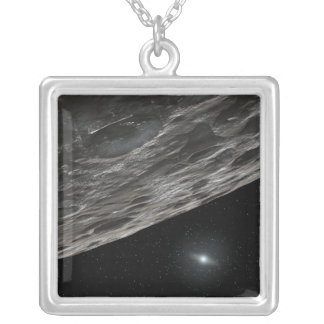 Artist's Conception of a Kuiper Belt Object Square Pendant Necklace