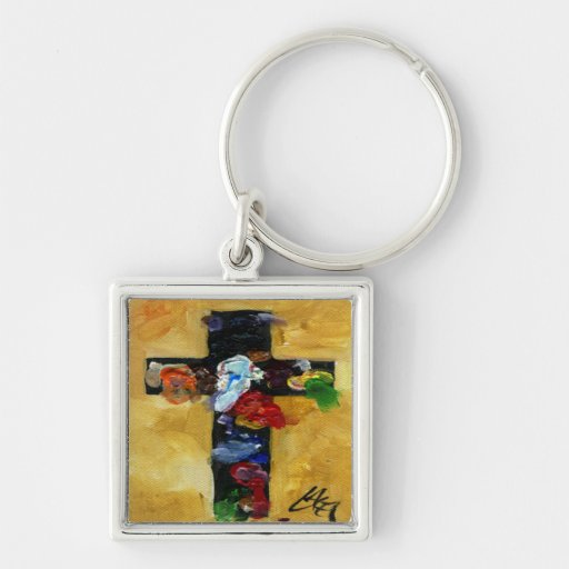 Artist's Cross - Beautiful splash of color Silver-Colored Square Keychain