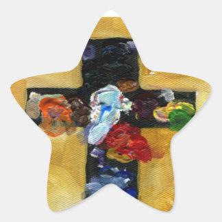 Artist's Cross - Beautiful splash of color Star Sticker