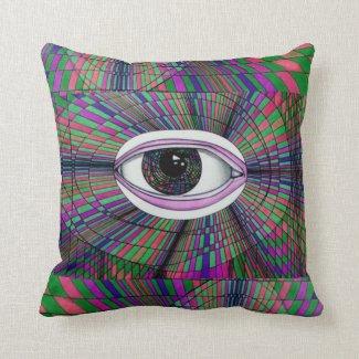 Artists Eye Pop Op Art Psychedelic Unique Unusual Throw Pillow