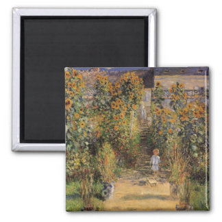 Artist's Garden at Vetheuil by Claude Monet 2 Inch Square Magnet