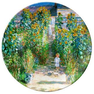 Artist's Garden at Vétheuil Monet Fine Art Dinner Plate