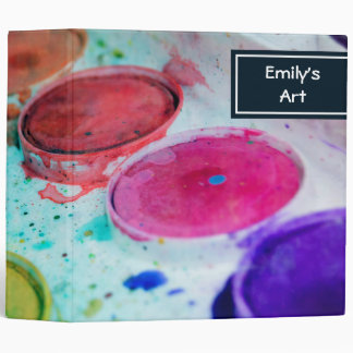 Artists Multicolored Watercolor Paint Palette 3 Ring Binder