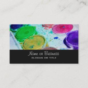 Art supply business cards zazzle artists multicolored watercolor paint palette business card colourmoves
