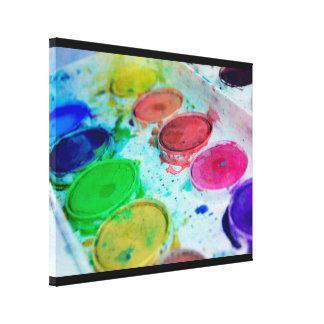 Artists Multicolored Watercolor Paint Palette Canvas Print