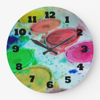 Artists Multicolored Watercolor Paint Palette Large Clock