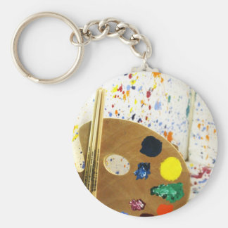 Artists Paint Splatter And Pallet of Paint Keychain