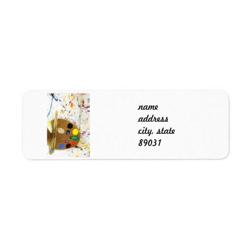 Artists Paint Splatter And Pallet of Paint Custom Return Address Label