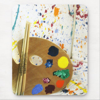 Artists Paint Splatter And Pallet of Paint Mouse Pad