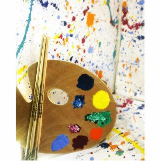 Artists Paint Splatter And Pallet of Paint Photo Cutout