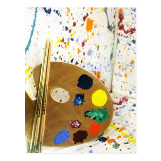 Artists Paint Splatter And Pallet of Paint Postcard