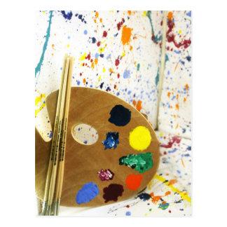 Artists Paint Splatter And Pallet of Paint Postcards