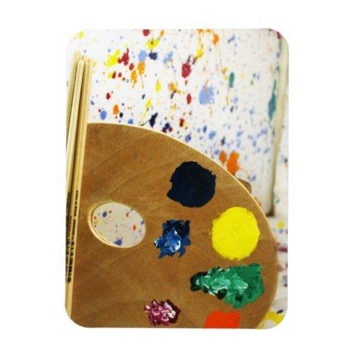 Artists Paint Splatter And Pallet of Paint Rectangular Magnet