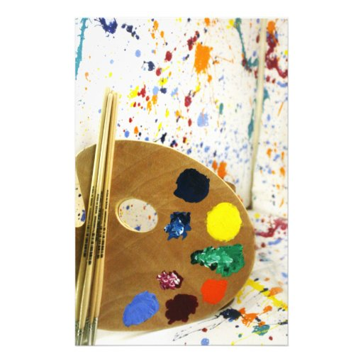 Artists Paint Splatter And Pallet of Paint Stationery
