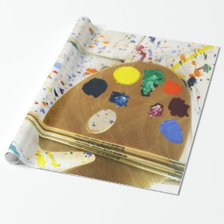 Artists Paint Splatter And Pallet of Paint Wrapping Paper