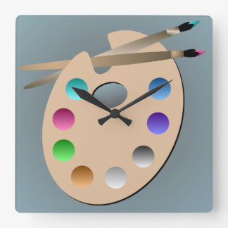 Artist's Palette and Paintbrush Wall Clock