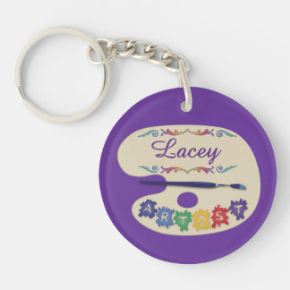 Artists Palette Custom Name Double-Sided Round Acrylic Keychain