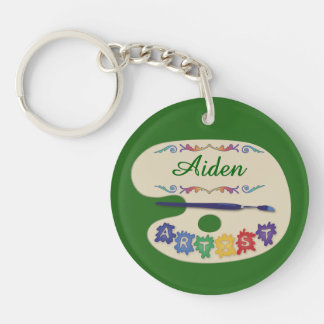 Artists Palette Name Design Double-Sided Round Acrylic Keychain